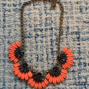 • J. CREW • CORAL & BLACK STATEMENT NECKLACE •